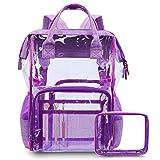 CoolBELL Clear Backpack Transparent Bag Bookbag Stadium Bag (Purple)