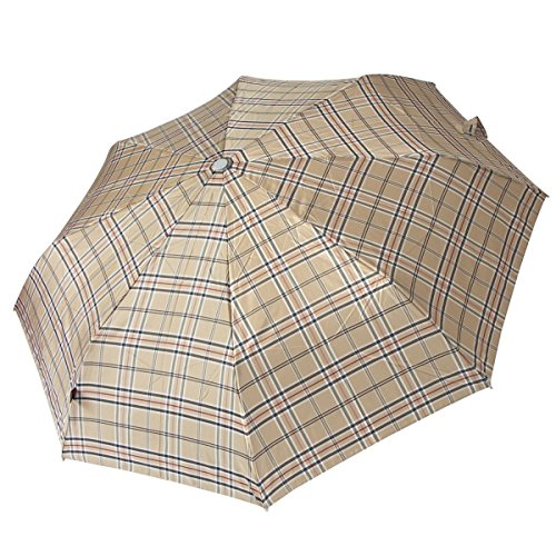 Knirps Regenschirm Taschenschirm Damen Herren Karo braun