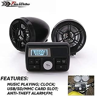 MADONG Motorcycle alarm mp3 motorcycle alarm soundproof waterproof radio (Color : Black)
