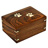 Bhartiya Handicrafts Urnas de madera para cenizas de color marrón oscuro de palisandro indio para perros, urnas conmemorativas para cenizas | Caja de cremación de madera (S - 5 x 3 x 2.5 (15 Cu/In))