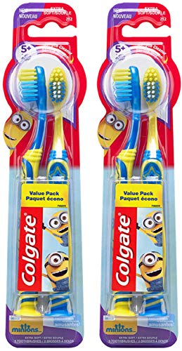 Colgate Kids Toothbrush with Extra Soft Bristles and Suction Cup Holder, Minions - 4 Count
