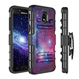 Capsule Case Compatible with Samsung Galaxy J7 2018 (J737), J7 Star, J7 Aero, J7 Refine, J7V 2nd Gen, J7 Crown, J7 Eon [Armor Kickstand Holster Combo Case Black] - (Big Space)