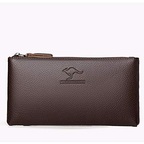Buy and buy at Brandon Mobile Wallet Autumn Retro Simple Solid Color Long Wallet Soft Face Men's ClutchBrownA