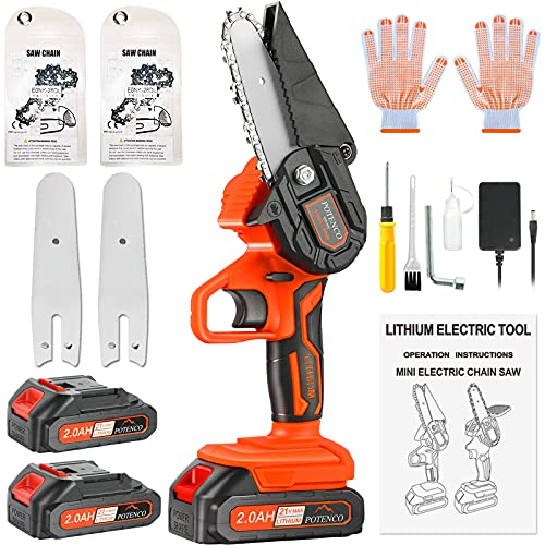 POTENCO Mini Chainsaw , 2.0Ah Battery Powered Electric Chainsaw with Security Lock, 4-Inch Mini Chainsaws Cordless for Tree Branch Wood Cutting (Incl. 2x Battery, 2x Chain, 2x Guide Bar)
