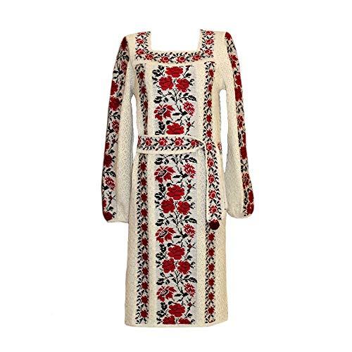 Größe M, Handmade gestrickt Vyshyvanka ethnischen böhmischen Kleid Boho Frau Stil Leinen 100%