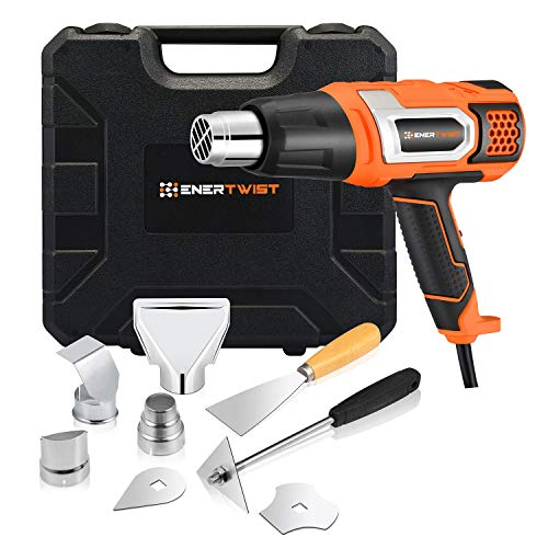 EnerTwist Heat Gun 1500 Watt Variable Temperature Control Hot Air Tool Kit Heating Protect for Shrink Wrapping, Paint Removal, Wiring,...