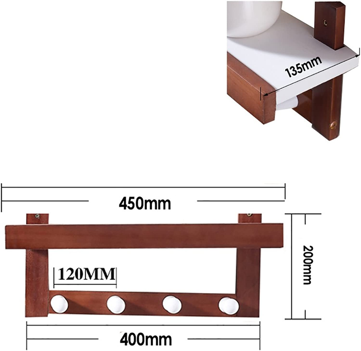 Multi-Functional Brown Wall Coat Rack, Wall Solid Wood Shelves Shelves, 3 Kinds of Size Options (Size   45  13.5  20cm)