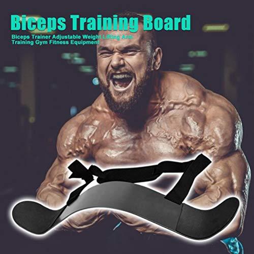Qeedio Biceps Trainingsboard arm biceps curl ondersteuning armtrainer van aluminiumlegering biceps arm trainingsapparaat met verstelbare riem voor bodybuilding, krachttraining