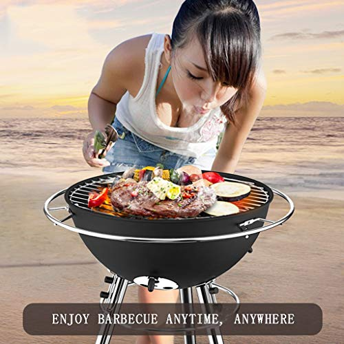 Find Bargain Barbecue Round Grill Stainless Steel Tool Charcoal Grill 3-5 People for Picnic Use Full...