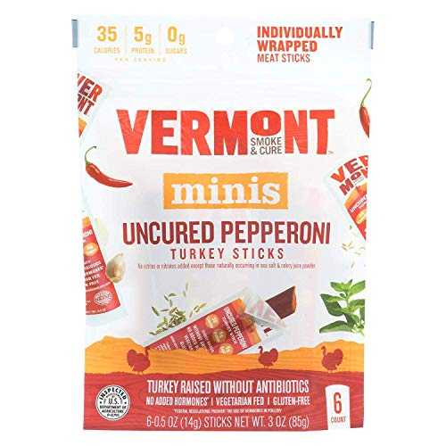 Vermont Uncured Pepperoni 0.5 Ounce Turkey Sticks, 6 count per pack - 8 per case.