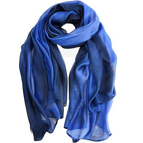 Asiv Elegante Gradiente Colore Sheer Sciarpa Scialle Avvolgere Seta Sciarpe per Donna Blu 195 * 88cm