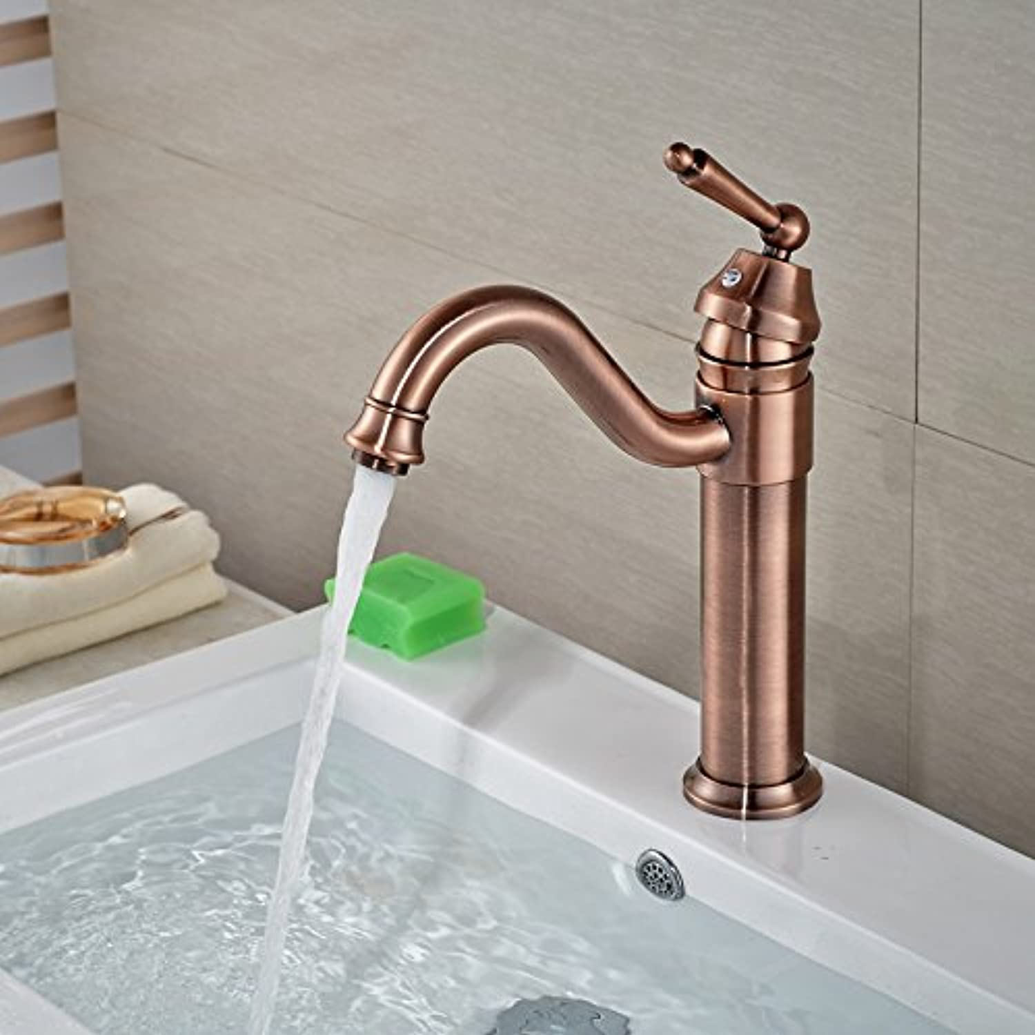 U-Enjoy Deck Mounted redating Top Quality Neck Bathroom Kitchen Sink Faucet Single Handle Brass Brushed Bathroom Mixers (Antique Bronze)