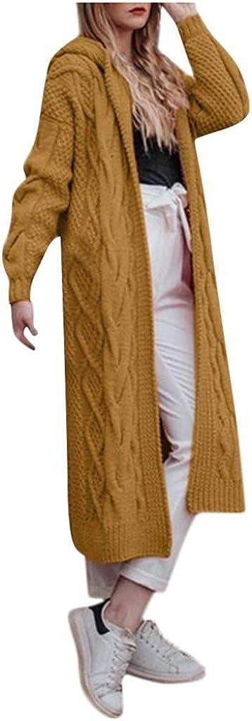 FFFG Women's Sweater Cardigan Coats with Pockets Casual Fashion Long-Sleeve Solid Vintage Long Jacket Stripe Coat Warm