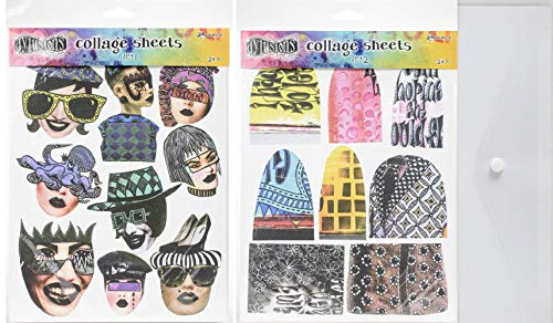 Dyan Reaveley - Dylusions Collage Sheets - Set 1 and Set 2 with Storage Envelope - 3 Items
