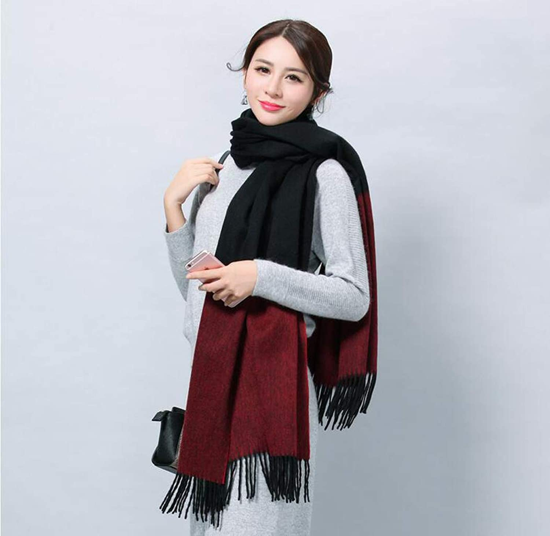 JUN Wool Scarf Dualuse Long Thick Winter Cashmere Scarf Female Korean Fashion Wild Shawl (color   B)