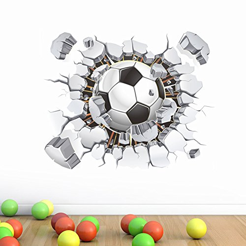 3D Soccer Ball Football Wall Sticker Decal Kids Bedroom Home Room Decor Sport, Home Decor, for New Year (White)