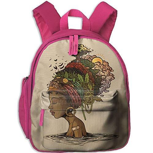 Mochila para niños pequeños, Mochila Escolar, Schoolbag Africa Woman Hairstyle Double Zipper Waterproof Children Schoolbag with Front Pockets for Boys Girls