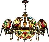 KEYREN Tiffany Stil Parrot Kronleuchter Multicolor Glas Deckenleuchte Anhänger Hängelampe Indoor...