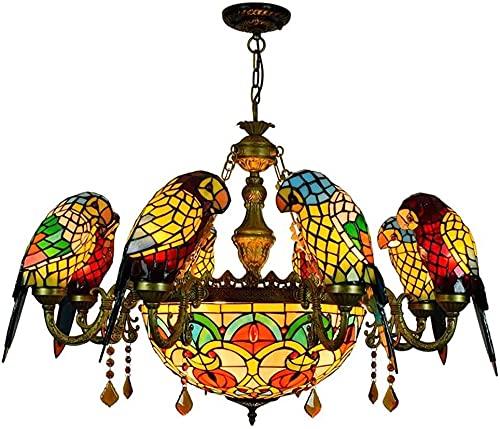 KEYREN Tiffany Style Parrot Chandelier de vidrio multicolor Luz de techo Lámpara colgante lámpara colgante iluminación interior, estilo pastoral americano cristal lámpara colgante para sala de estar d