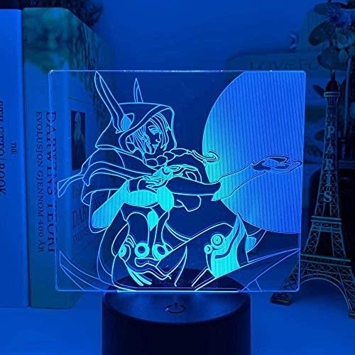 3D League der Legenden LED Nachtlicht Xayah Figur Bunte Nachtlicht Geschenk für Gamer Spielzimmerdekor Tischlampe LOL Der Rebell-16 Farbe mit Fernbedienung
