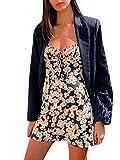 Vestido de Verano de Mujer Mini Vestido de Flor Vestido Corto de Tirantes sin Mangas Vestido Sexy de Playa para Niña Chica (Flor, S)