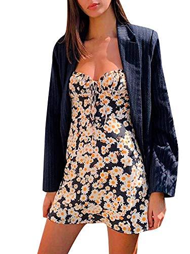 Vestido de Verano de Mujer Mini Vestido de Flor Vestido Corto de Tirantes sin Mangas Vestido Sexy de Playa para Niña Chica (Flor, M)