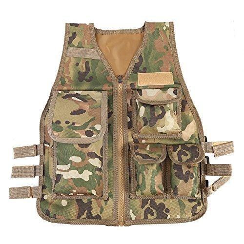 VGEBY Nylon outdoor multifunctioneel vest verstelbaar Outdoor CS spel Airsoft visvest met 5 kleine zakken voor kinderen van 8-14 jaar oud