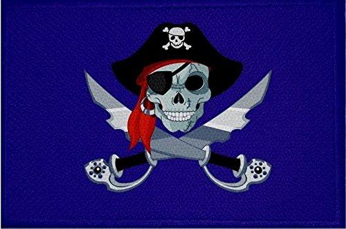 U24 patch piraat met sabel en muts blauwe vlag opstrijkbare patch 9 x 6 cm