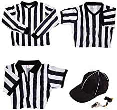 Pro Referee Bundle - 3 Striped Shirts Including Long Sleeve Cold Weather Jersey, V-Neck, Quarter-Zip Pullover, Hat, Stainl...
