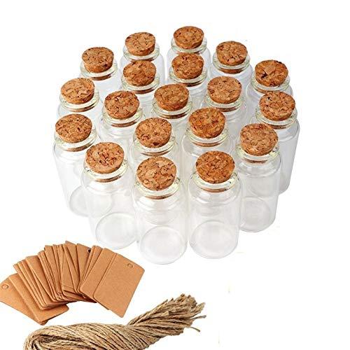 NLLeZ 25ml Mini Bottiglia di Vetro con Sughero Trasparente volantino Decorazione a Sospensione Decorazione Nuziale favori bomboniere Bottiglia di Vetro Decorazioni da Sposa (Colore : 48pcs)