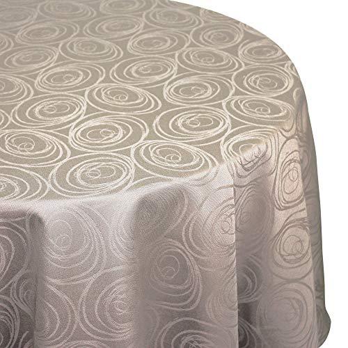 Nappe ovale 180x300 cm Jacquard 100% coton SPIRALE taupe