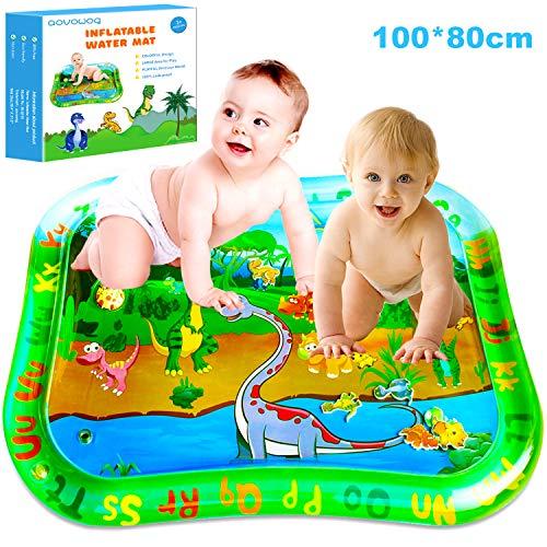 Babyspielzeug Wassermatte Sensorisches Spielzeug Aufblasbare Quietschend Wasserspielmatte mit beweglichen Dinorsaurier Geschenk für Baby Kinder Junge 3 6 9 Monate(39.4 * 31.5in)