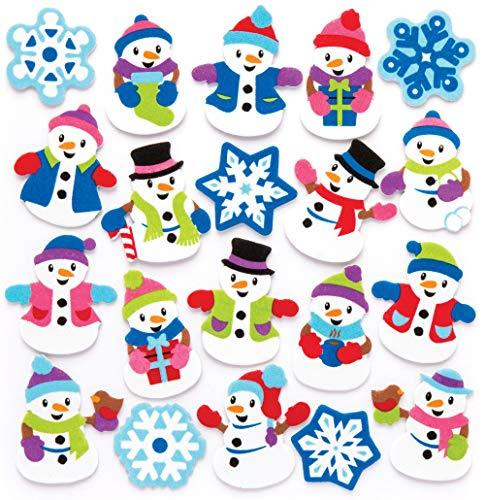 Baker Ross Etiquetas engomadas de la espuma del muñeco de nieve (paquete de 120) para manualidades y proyectos de...