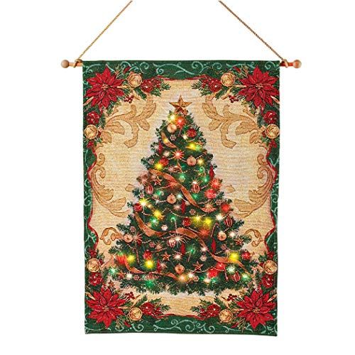 Collections Etc Hanging Christmas Tree Tapestry Lighted Wall Art