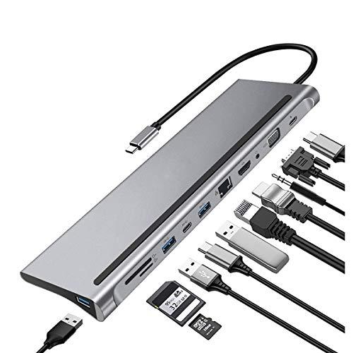 C-Y Adaptador USB HUB 4K HDMI 11 Puertos con 3 Puertos USB 3.0, Lector de Tarjetas SD/TF, 4k hdmi para MacBook MateBook y Otros Dispositivos Tipo
