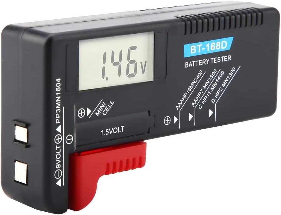 Battery Tester,Universal Digital LCD AA/AAA/C/D/9V/1.5V Button Cell Battery Volt Tester BT-168D