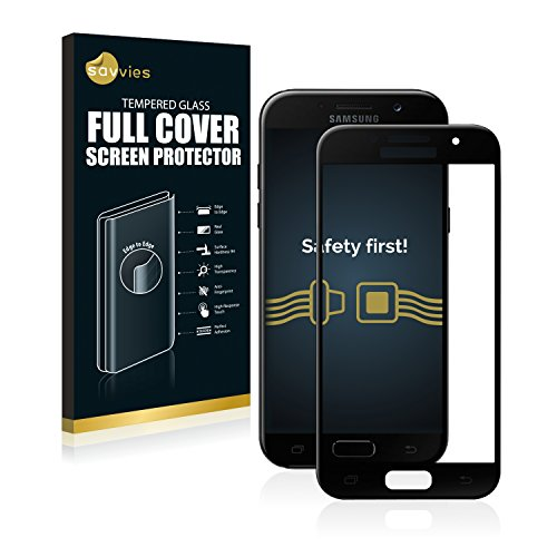 savvies Cristal Templado Completo Compatible con Samsung Galaxy A5 (2017) 2.5D Cobertura Completa Protector Pantalla – 9H Dureza, Negro
