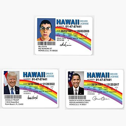 McLovin -Obama- Trump Fun ID Hawaii Drivers License Wallets Decoration Set of 3PCS