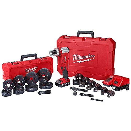 Milwaukee M18 18-Volt Lithium-Ion 1/2 in. to 4 in. Force Logic 6 Ton Cordless Knockout Tool Kit W/Die Set, (2) 2.0Ah Batteries