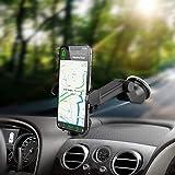 Supporto Auto Smartphone, Supporto per Telefono per Auto [360 Gradi di Rotazione] con Cruscotto Regolabile e Supporto per Braccio Estensibile per Auto Forte Rilievo in Gel Appiccicoso, GPS