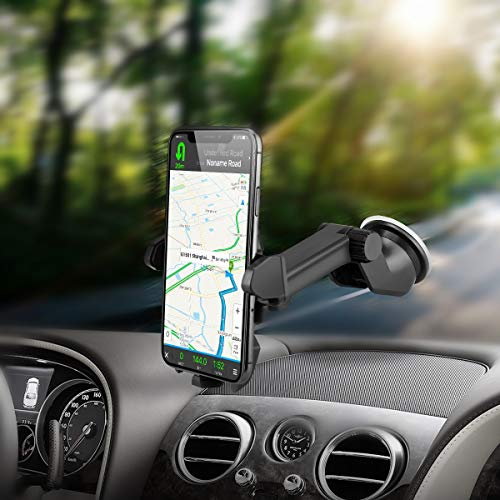 VEECEE Supporto Auto Smartphone, Supporto per Telefono per Auto [360 Gradi di Rotazione] con Cruscotto Regolabile e Supporto per Braccio Estensibile per Auto Forte Rilievo in Gel Appiccicoso, GPS