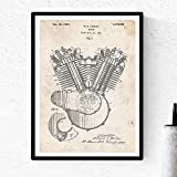 Nacnic Poster de Patente de Motor Moto Harley. Lámina para enmarcar. Poster con diseños, Patentes, Planos de inventos Famosos. Decoracion de hogar