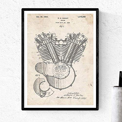 Nacnic Poster Patent motro Harley. Sheet for framing. Poster Designs, patents, Drawings Famous Inventions. Home Decoration