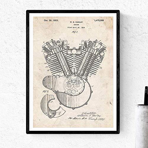 Poster Nacnic Patent Motor Harley. Blad voor het ontwerpen. Poster ontwerpen, patenten, tekeningen beroemde uitvindingen. Home Decoration