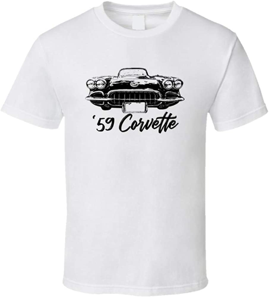 1959 Corvette Grill shop View with Model White and Shirt T Year Name Dedication