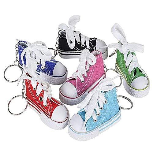 DIY Mini Finger Schuhe, Leinwand Mini Sneaker Schuh Schlüsselbund, Motorrad Fahrrad Fußstütze kleine Schuhe Elektroauto Stativ Dekor (6PCS)