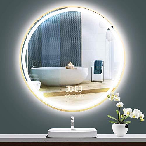 Peralng Espejo de baño LED – 80 cm espejo de baño redondo con luz de interruptor táctil + 3 colores de luz, antivaho, 3 aumentos, indicador de tiempo, espejo de pared y resistente al agua IP44