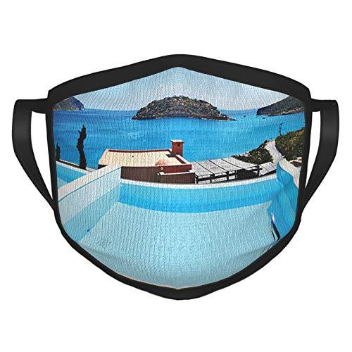 Bufanda reutilizable xmy de la cara de la colección de decoración de la casa piscina hotel con una vista isla Creta Grecia terraza turquesa mar