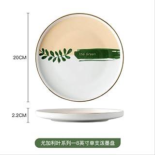 Plantas de cerámica Vajilla Plato de arroz para una persona Plato principal Sushi Plato de ramen Sopa redonda y casera Sopa de fideos Ensaladera Taza de lecheD-8 pulgadas
