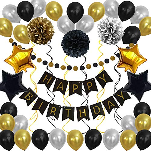 Black Gold Birthday Decorations Party Supplies 45Pcs Happy Birthday Banner Paper Pom Poms Flowers Party Balloons Foil Star Balloons Gold Glitter Garland Hanging Swirls Happy Birthday Decorations for Men Women